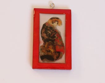 Japanese Art Jewellery Pendant Charm Lady Painting Japan