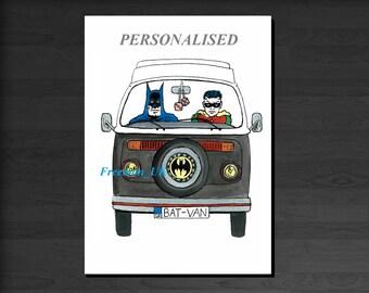 Custom Bat-Van.  Batman and Robin in their trusted Bat Camper.  Greetings card