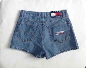 90s Tommy Hilfiger Shorts, Logo Shorts, Denim Shorts, Jean Shorts, Women's size Medium