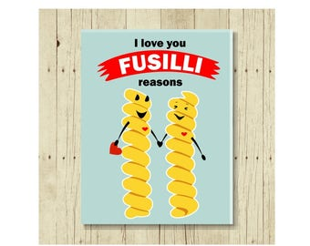 I Love You Fusilli Reasons Magnet, Funny Magent, Refrigerator Magnet, Cute Fridge Magnet, Gifts Under 10, Small Gift, Gift for Her, Pasta