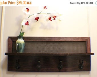 ON SALE Beautiful Dark Cherry Stained 4 Hook Wall Mounted Coat Rack with Shelf and Decorative Dark Bronze Metal Mesh, Wall Organizer and She