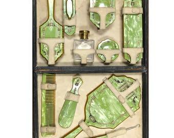 d248 Antique Green Bakelite Celluloid Vanity Grooming Dresser Set of 11pc 1930's