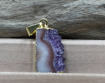 Amethyst Slice, Small Amethyst Slice Pendant, Amethyst Druzy Pendant, 24K Gold, Amethyst Pendant, Only One of Each Available, TINY, PG0446D