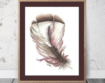 Feather Study Brown and Pink