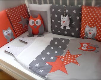 Bumper owls and coral and grey stars