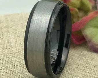 8mm Tungsten Wedding Ring, Brushed Finish Comfort Fit Tungsten Ring Band, Men's Wedding Band,