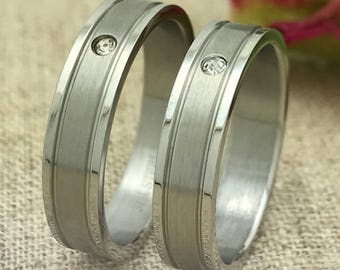 5mm Personalized Stainless Steel His and Hers Wedding Bands, Custom Engraved Promise Rings, Couple Rings, Wedding Ring Set, Friendship Rings