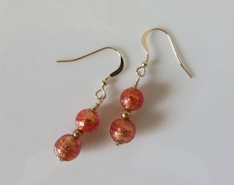 Venetian Murano Glass earrings -  Murano Beaded Earrings - 14K Gold Filled Venetian Glass  Earrings