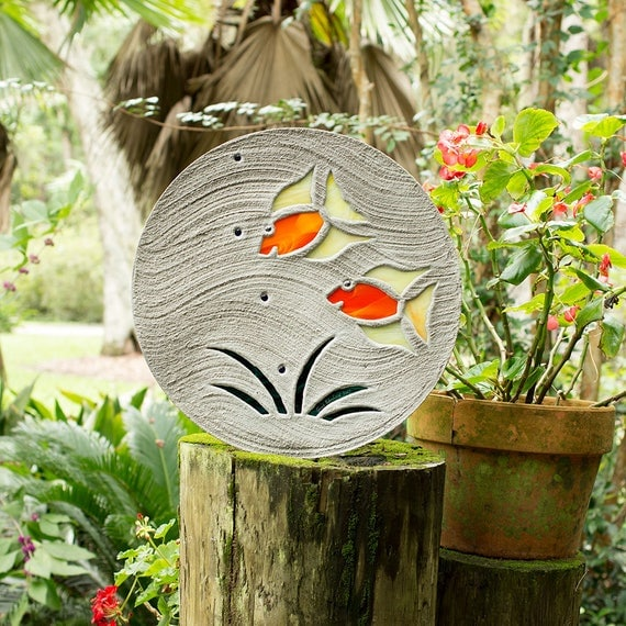 """Tropical Fish Goldfish Stepping Stone 18"""" Diameter Concrete With Stained Glass Inlay Perfect for Your Garden Patio Back Yard Fish Pond #598"""