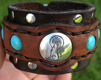 Howling Wolf Native Indian Navajo sterling silver bracelet ketoh Buffalo Bison leather handcrafted adjustable one of kind tribal turquoise