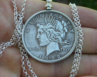 1922 authentic vintage silver US  Peace dollar necklace pendant sterling silver chain 16 or 18 or 20 or 22 or 24 or 30 inch