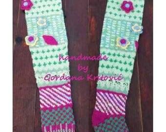 Hand knit knee socks,owl socks,leg warmers,knitted socks,Unique owl leggins,Over-the-Knee Socks,Knit Knee High Socks,wool socks,PLUS SIZES