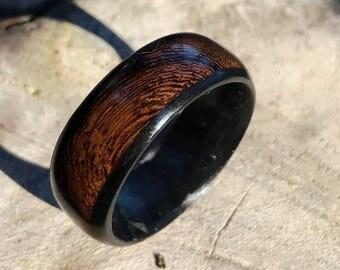 Mens ring, wooden ring, mens wood ring, wood ring, koa wood ring, mens wood wedding ring, wood wedding band, carbon fiber wood ring,