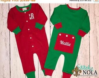 20 Percent OFF Christmas Pajamas, Christmas Rompers, One Piece Sleeper, One Piece Pajamas, Christmas Bodysuit, Faux Drop Seat Romper, Faux D