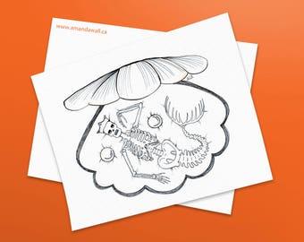 Underwater Skeleton - Original Ink Drawing