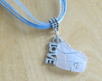 Frosted glass and Love charm necklace