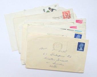 Vintage envelopes: set of 20 1970s used envelopes with UK stamps & postmarks. Paper ephemera for mixed media, scrapbooks, collage OT598