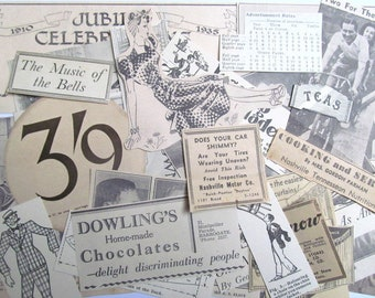 1930s magazine, newspaper clippings: pack of 30 paper pieces. Vintage ephemera pack for crafting, scrapbooks, decoupage, journaling EP2