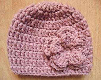 Wool baby hat Mauve newborn hat Baby girl hat Winter baby girl hat Newborn wool hat Newborn girl hat Newborn beanie Crochet baby hat
