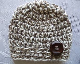 Wool baby hat Button baby boy hat Newborn boy hat Boy winter hat Baby boy hat Newborn boy outfit Crochet baby hat Baby boy beanie Baby hat