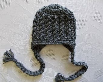 Crochet earflap hat Baby boy hat Winter baby hat Baby earflap hat Newborn winter hat Newborn boy hat Winter baby outfit Charcoal boy hat