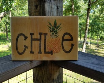 Rustic Custom Name Sign on Wood with Pineapple