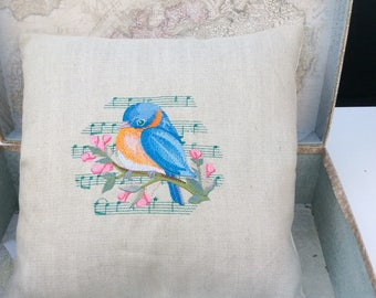 Embroidered bird  pillow, cushion  kingfisher.