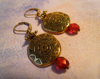 Inca Earrings wires light red summer sun