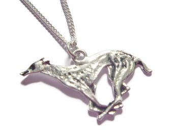 1990's Vintage Running Greyhound Pendant on Chain // Silver Plated Necklace //  Made in England // Gift for animal lovers // Stocking filler