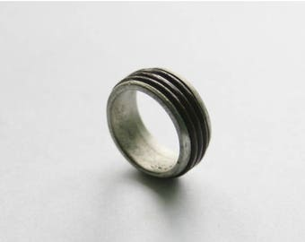 Chunky Pewter & Brown Cord Mens Ring // Medium UK Size Q // Made in England // Gift Idea For Him