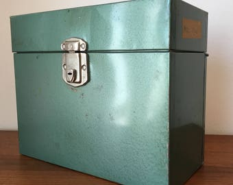 Vintage Metal File Box/ Industrial Style/ Excelsior File Box/ Green Metal Box