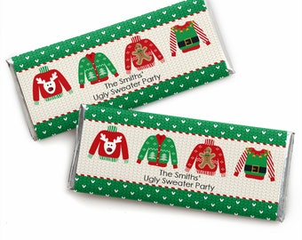 Ugly Sweater Party Candy Bar Wrappers - Personalized Christmas Party Favors - Office Party Theme - Holiday Party Candy Favors -24 Count