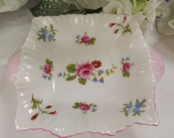 Shelley Pink Edged China Butter / Ring Dish