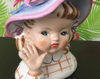 Vintage head vase - little girl in bonnet