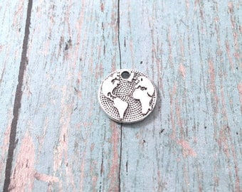 8 Small Globe charms silver tone (2 sided) - silver globe pendants, Earth charms, travel charms, world charms, geography charms, BX