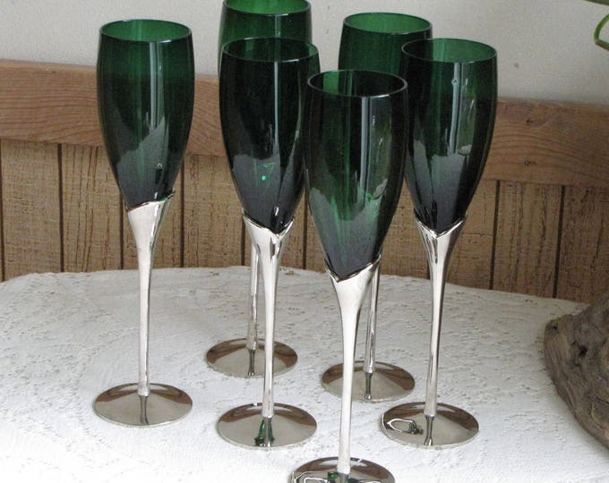 Green Champagne Flutes Silver-stemmed Glasses Vintage Barware New Year's Eve Elegant Partyware Set of Six (6)