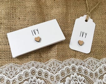 Rustic heart placecards pack of 10 table cards wedding events shabby chic