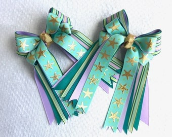 Horse Show Hair Bows/Gold Star Sparkle/Teal Green Gold Purple Equestrian Clothing/Pony Finals
