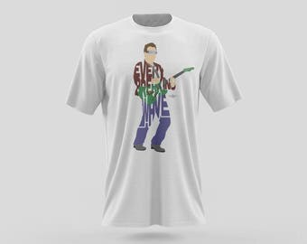 "Bono T-Shirt Typography Design of U2 singer ""Every Breaking Wave"" Green Guitar and Singer from the band U2 Bono. Gift tshirt black and white"