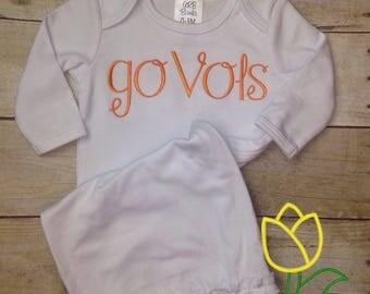 Go Vols Tennessee Gown, Burp Cloth, Bib, Baby Girl Tennessee, Tennessee Outift, Vols Outfit