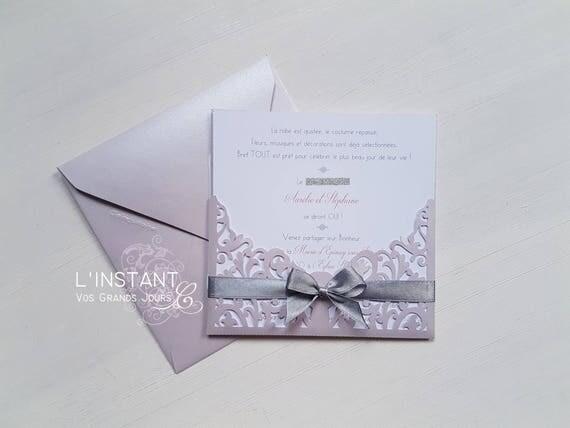 Sehr Faire-part mariage dentelle ROSE / ARGENT L'INSTANT C FY73