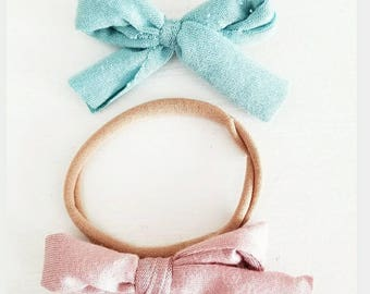 Mauve & Pale Blue duo. One size fits all headbands or hair clips