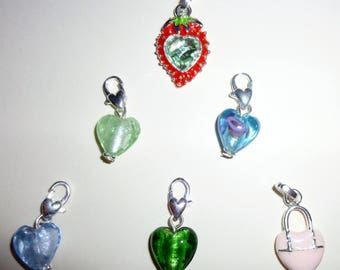 set of six heart charms