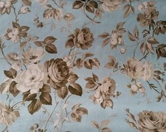 NEW * taupe fabric flower bouquet. Gustavian blue background. Sold in 10 cm