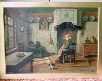 """Wonderful antique dutch painting """"Maid knitting"""" Framed and signed."""