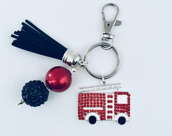 Fire Truck Key Chain/First Responder Key Chain/Fire Engine/Emergency Vehicle/Fire Fighter Wife Daughter Mom/Fire Fighter Gift