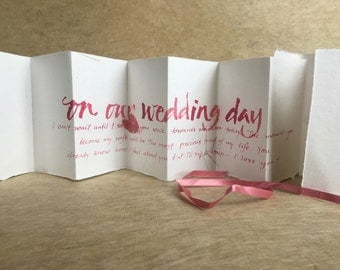 To my Bride on our wedding day, handwritten card, pink petal paper, love letter, wedding vows, from the groom, gift for bride or groom,