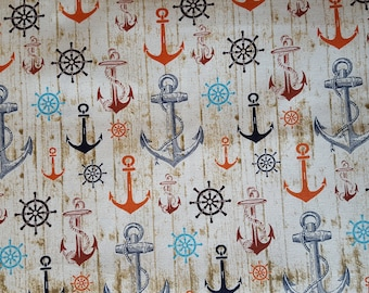 Anchors on Cream Cotton Fabric Sold by the yard