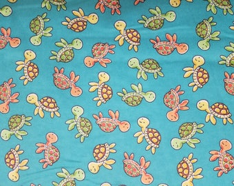Sweet Turtles Swimming Flannel by the yard
