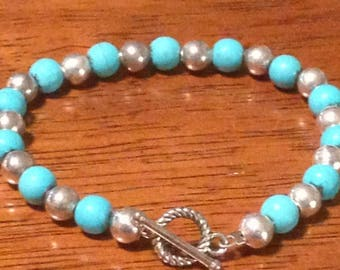 Handcrafted Turquoise Silver Bracelet